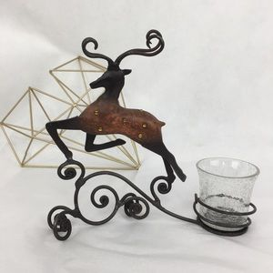 Pier 1 Reindeer & Cracked Glass Candle Holder